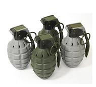 Kids pretend grenades for the Bunny Brawler costume