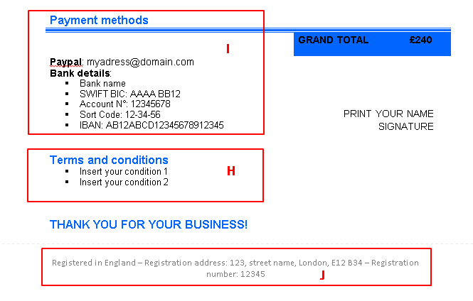 Template of an invoice in word - image showing the payment details