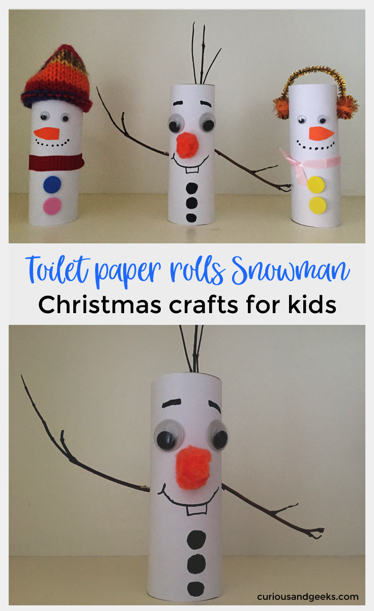 Do you wanna build a snowman this winter? Here are three easy toilet paper rolls Snowman that you can make - Christmas Crafts for Kids!