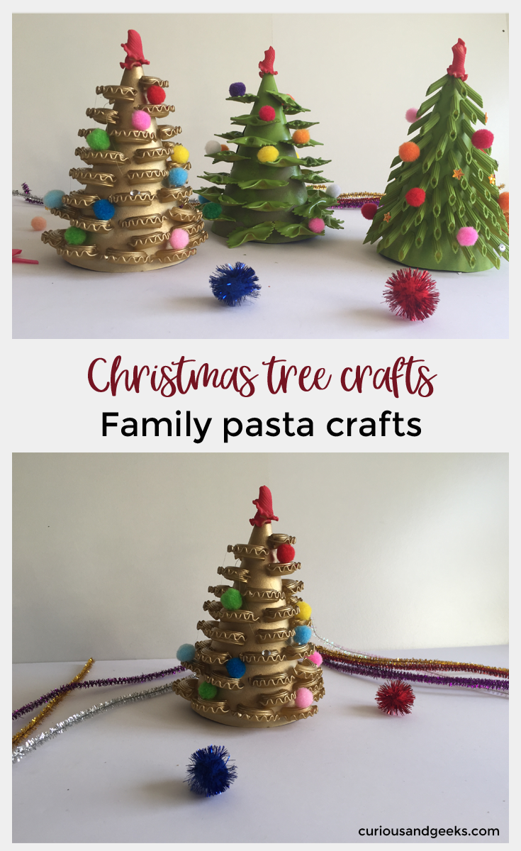 Christmas Tree Crafts - Check out this how to make a Family Pasta Christmas Tree. This is an easy craft that will help you create awesome little Christmas decorations!