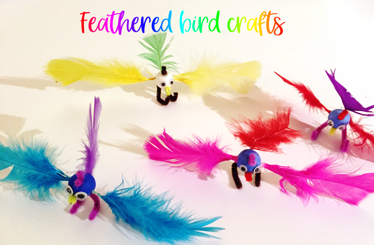 Feathered bird crafts for kids - Make these cute Feathered friends
