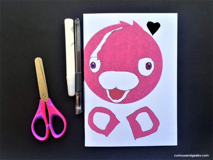 Cuddle Team Leader Valentines card for kids - Step 2 Folding the printed printable