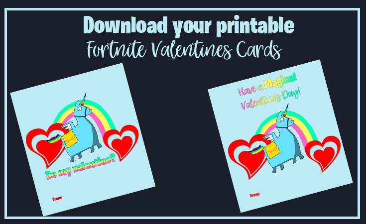 Fortnite Valentines day cards - Link to download the pdf