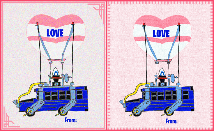 Fortnite Valentines day cards Fortnite Battle Bus - Fortnite Valentines day cards with free printable