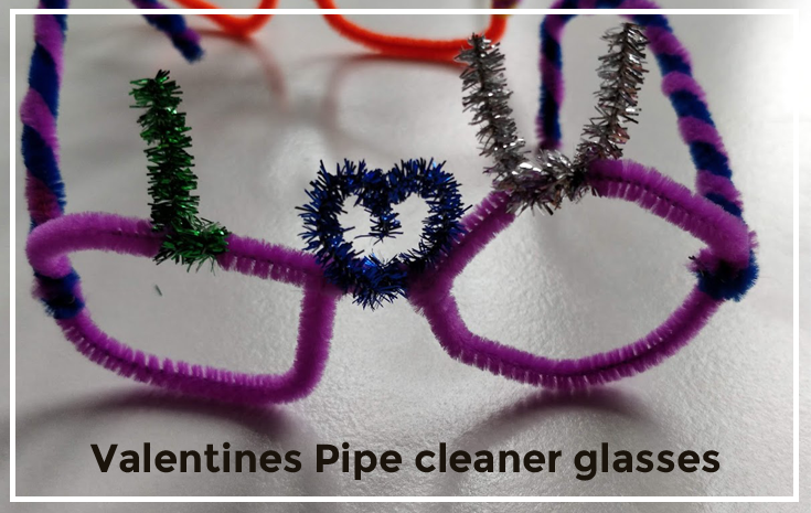 Valentines pipe cleaner glasses - tutorial how to make pipe cleaner glasses