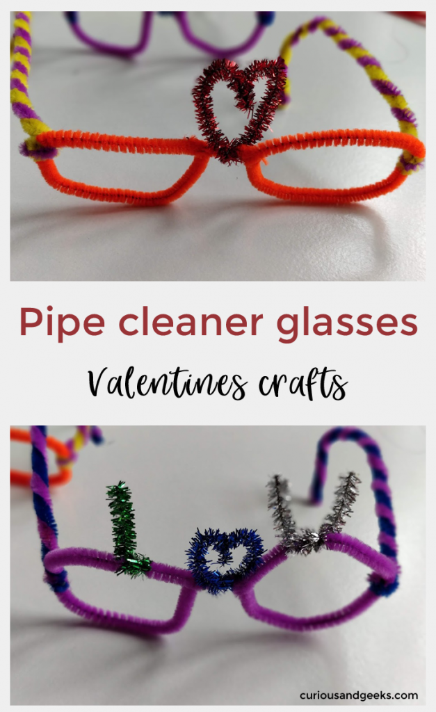 Check out these easy Valentines pipe cleaner glasses - They will make a great Valentines craft!