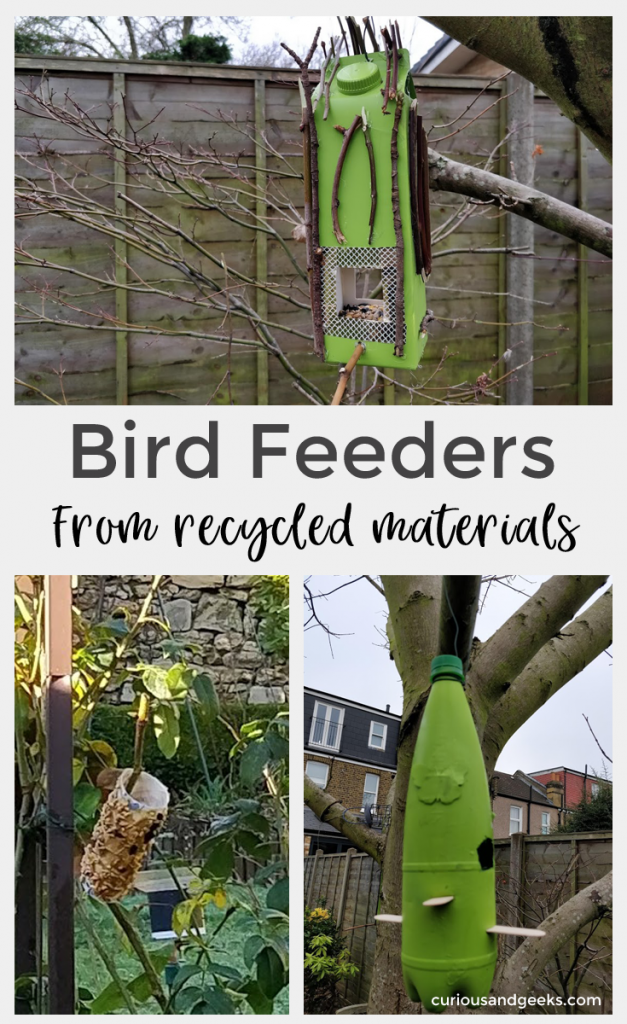 Check out all these three easy DIY bird feeders from recycled materials! These are great and easy crafts to make with kids of all ages!
